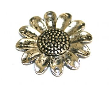 5pcs x 25mm Antique silver plated sunflower link charm with 2 holes - S.F03 - WA150 - 2002036